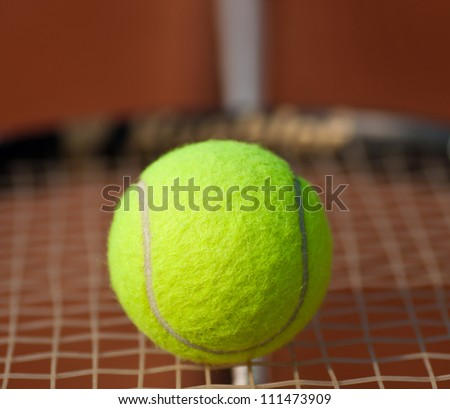 Close shot from a tennis ball.