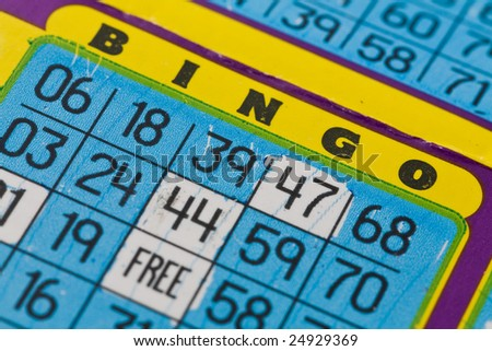 Close shot of a bingo card - shallow depth of field.