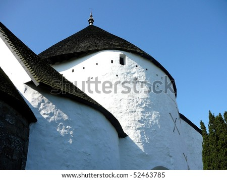 Close Shot of O?sterlars Kirke (Round Church) - stock photo