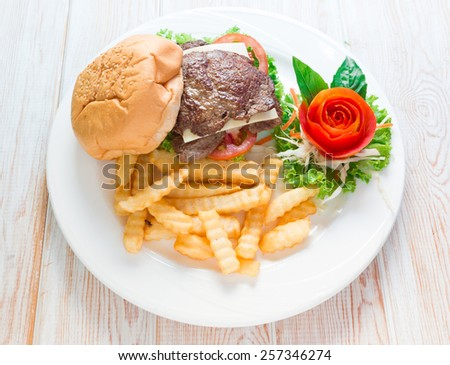 Close Steak beef burger with french fries - stock photo