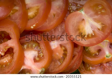 close texture of cut tomatoes
