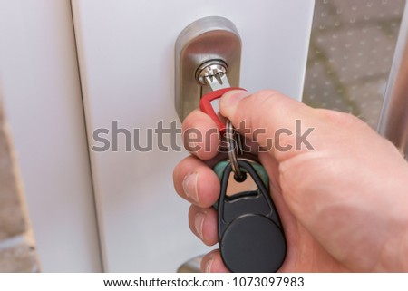 Close Front Door Protection Against Burglars Stock Photo Royalty