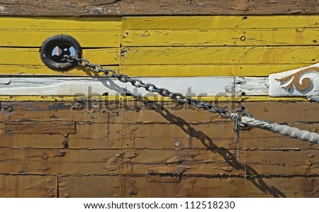 Close to a anchor chain of a historic sailing ship in the harbor of Marseille in South France