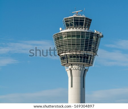 Close to a typical airport tower in Munich in Germany