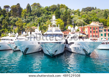 Close to Cinque Terre area, Portofino is one of the most beautiful and fashion town. These three yacht are located in Portofino harbour