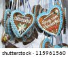 "Close to some traditional ""Lebkuchenherzerl"" at the folk festival ""Oktoberfest"" of Munich in Bavaria - stock photo"