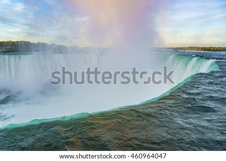 Close to the horseshoe in Niagara Falls. Panoramic View, Canadian Falls side Ontario, Canada