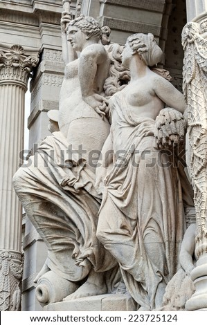 """Close to the sculpture group at the palace """"Palais Longchamp"""" in Marseille in South France  - stock photo"""