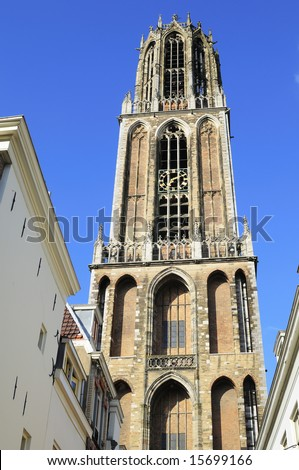 Close-uo picture of the tower of Utrecht gothic cathedral - stock photo