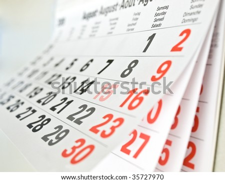 Close up a calendar page - stock photo