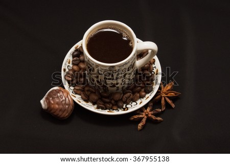 Close-up a cup of black coffee background - stock photo