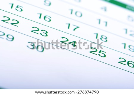 Close up a green toned calendar page - stock photo