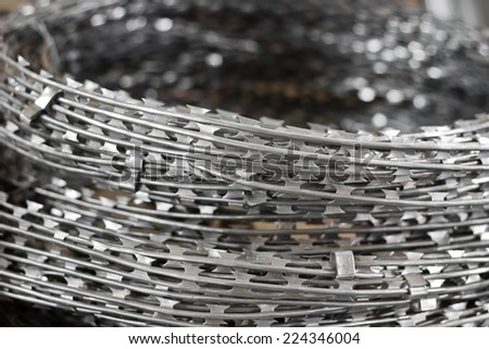 close up a roll of barbed wire - stock photo