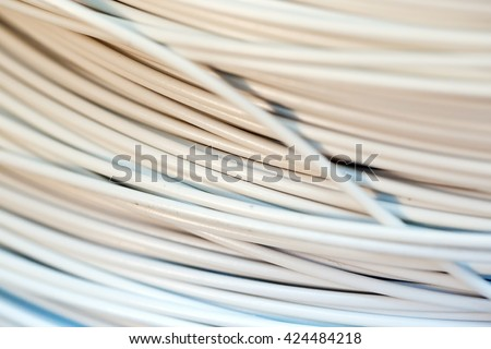 close up a roll of white cable