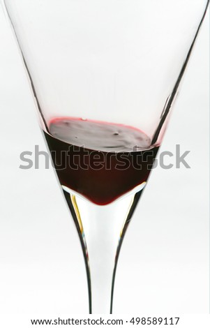 Close up abstract photo of wine glass with little wine left on bottom
