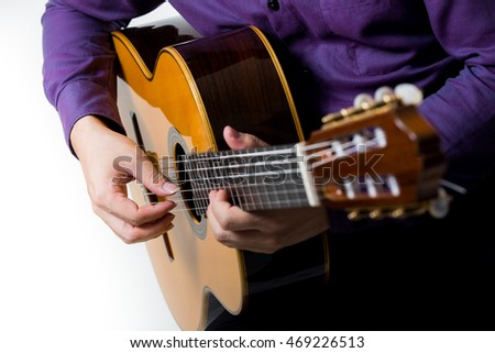 Close up acoustic guitar guitarist man classical. Classic player music play