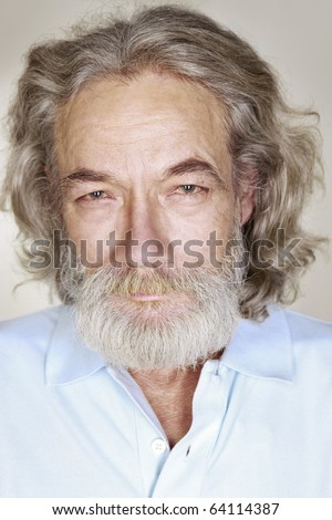 close-up adult old man with gray hair
