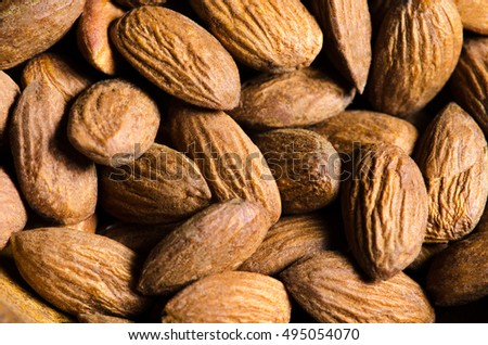 Close up almond background.