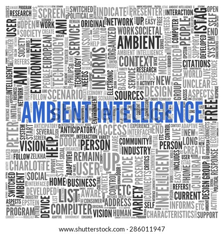 Close up AMBIENT INTELLIGENCE Text at the Center of Word Tag Cloud on White Background.