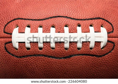 Close Up American Football Laces - stock photo