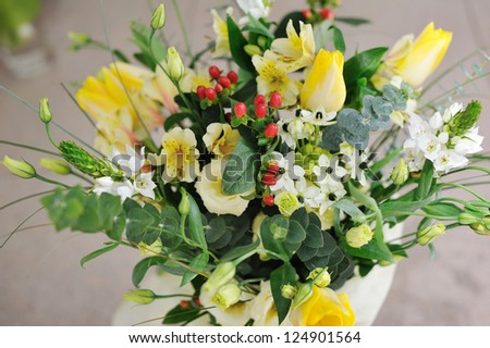 Close up an elegant bouquet from beautiful flowers - stock photo