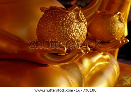 Close up ancient buddhist statue in old temple - stock photo