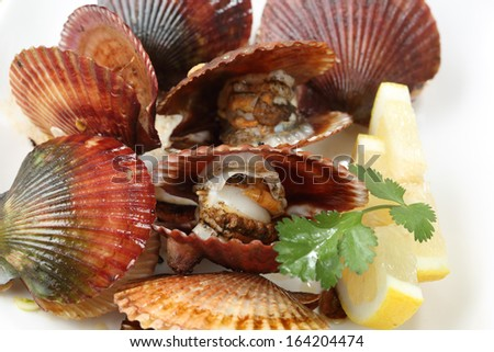 close up and top view of fresh fried scallops dish - stock photo