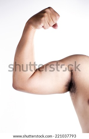 Close up Arm muscle on white background