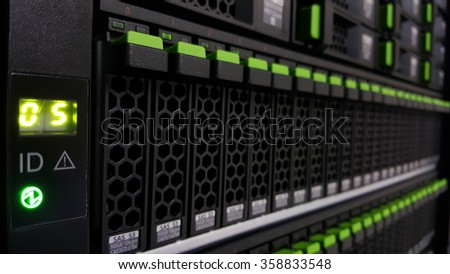 Close up array disk storage in data center - stock photo