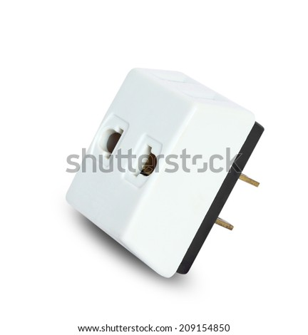 Close up Asia adapter plug isolated on white background