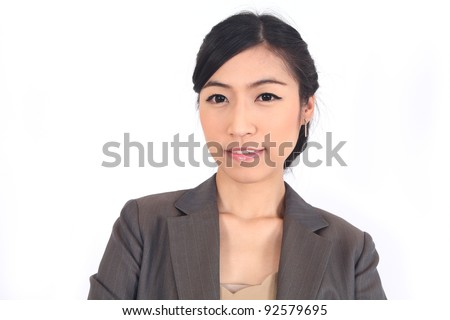 Close-up Asian Business woman on white background - stock photo