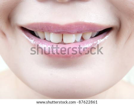 Close up Asian lady mouth.