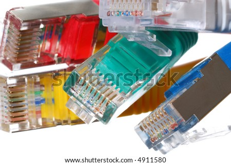 Close-up at colorful cat5 RJ45 cables