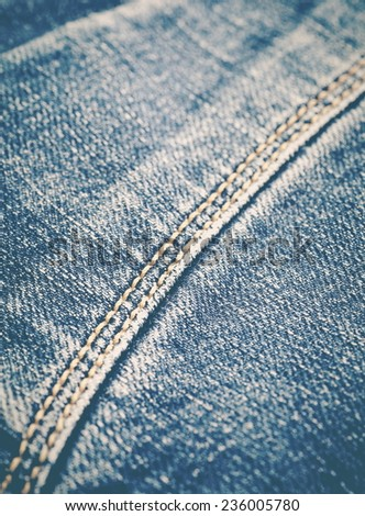 Close - up at seam of blue jean