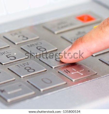 Close up ATM for withdraw your money in the outside - stock photo