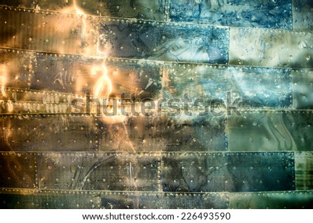 Close up Attractive Artistic Abstract Color Designs on Metal Sheets - stock photo
