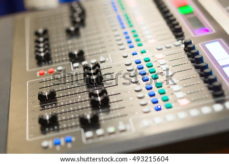 close up audio mixing console