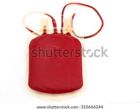 Close up back side bag of blood and plasma  group A and rubber tube  on white background - stock photo