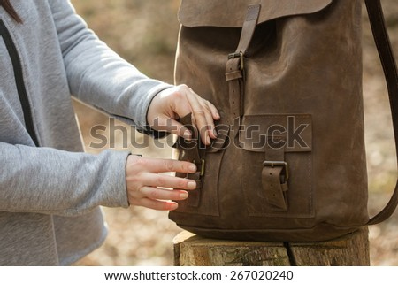 Close-up backpack - stock photo