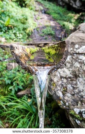 Close-up bamboo fountain - stock photo