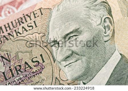 Close-up banknote old turkish lira around 1970's - stock photo