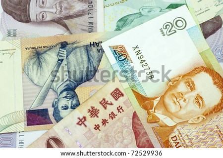 Close up Banknotes of Asian countries.