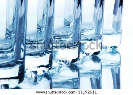 Close up. Bar glasses. Isolated on white - stock photo