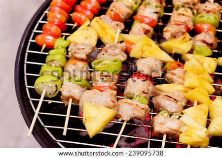 Close up bbq and corncob on a grilling pan  - stock photo