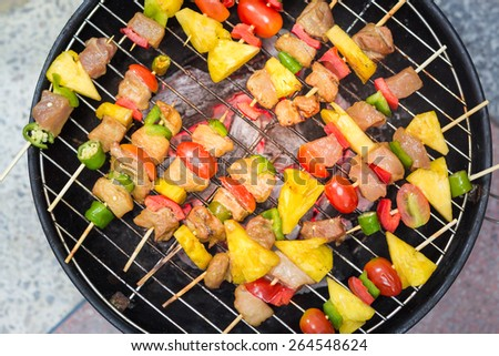 Close up bbq on a grilling pan, View top  - stock photo
