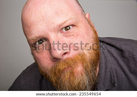 close up beard face - stock photo