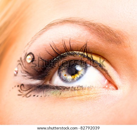 Close up beautiful eye with makeup. Beauty and fashion