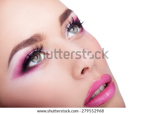 Close-up beautiful female face with fashion makeup, beauty shot - stock photo