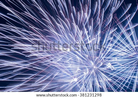 Close up beautiful fireworks in the evening sky , Holiday concept - stock photo