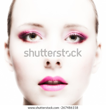 Close-up, beautiful woman face, perfect makeup, beauty and fashion - stock photo